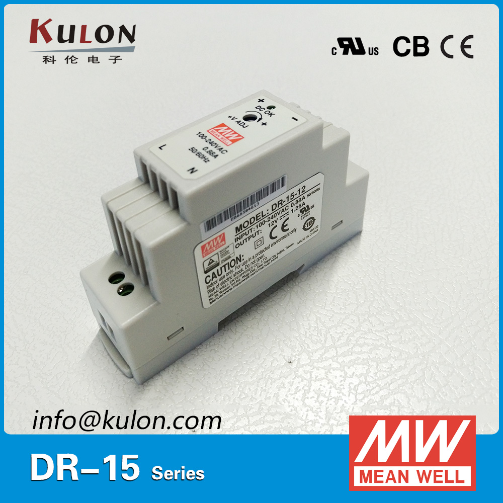 Original Mean Well DR-15-12 15W 12V 1.25A Industrial DIN rais