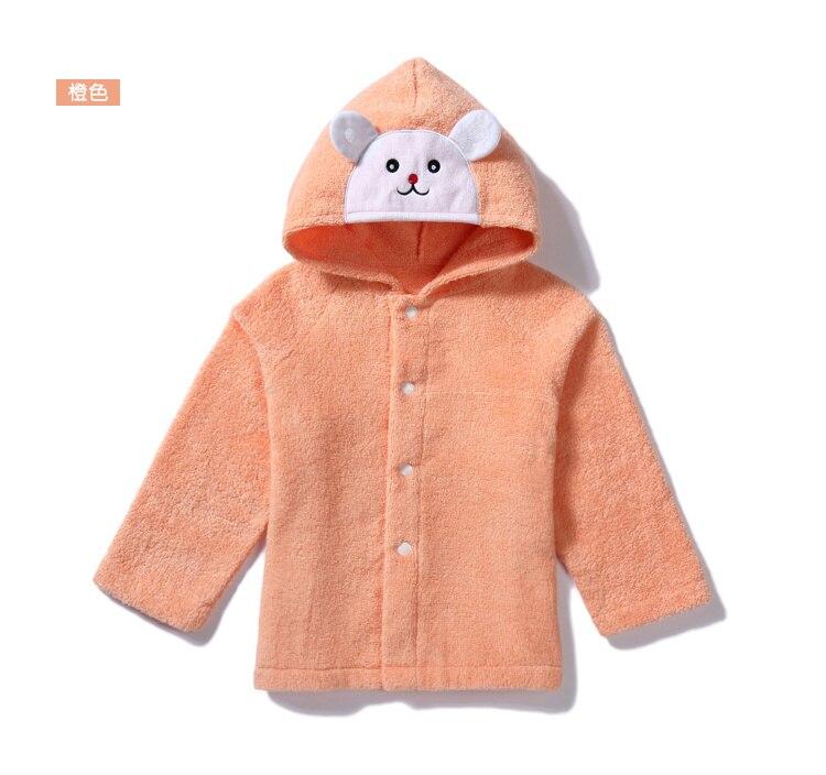 Осенне-зимняя Милая шапка с изображением кролика и медведя, детское полотенце с капюшоном, накидка, банный халат из хлопка, мягкий абсорбирующий халат для спа - Цвет: orange