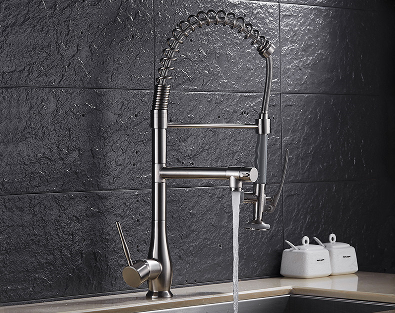 Free Ship Brushed Nickel Dual-Function Pull Down Spray Pre-Rinse Kitchen Faucet Mixer Tap
