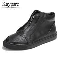 Kaypsre Printemps/Automne Adulte en cuir véritable occasionnels chaussures respirant zip chaussures de haute-aider les hommes