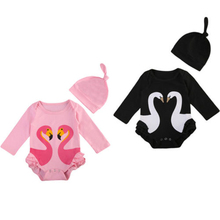 Pretty Baby Girl Swan Romper+Hat Newborn Baby Girl Long Sleeve Romper 2017 New Arrival Hot Jumpsuit Bebes Body suit For Newborns