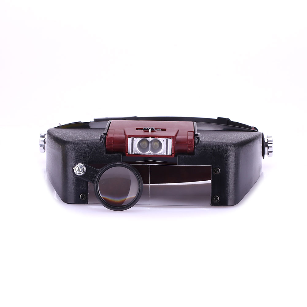 Объектив автоматический увеличительное стекло 2LED Свет Лупа на голову гарнитура - Цвет: Red battery case