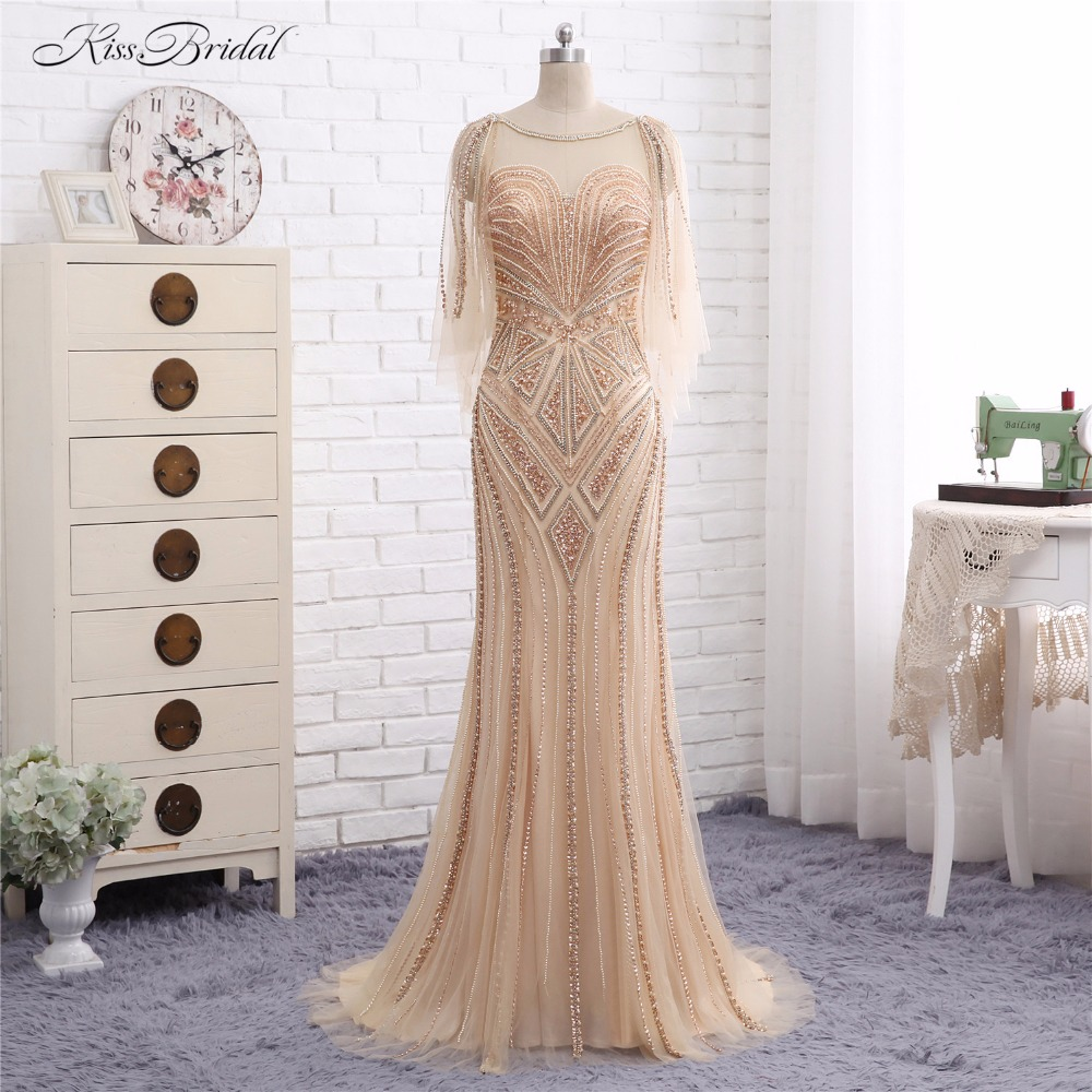 Luxury Formal   Evening     Dresses   Long Vestido de Festa Mermaid Scalloepd Crystal Beaded Sheer Prom Gown Abendkleider Robe de Soiree