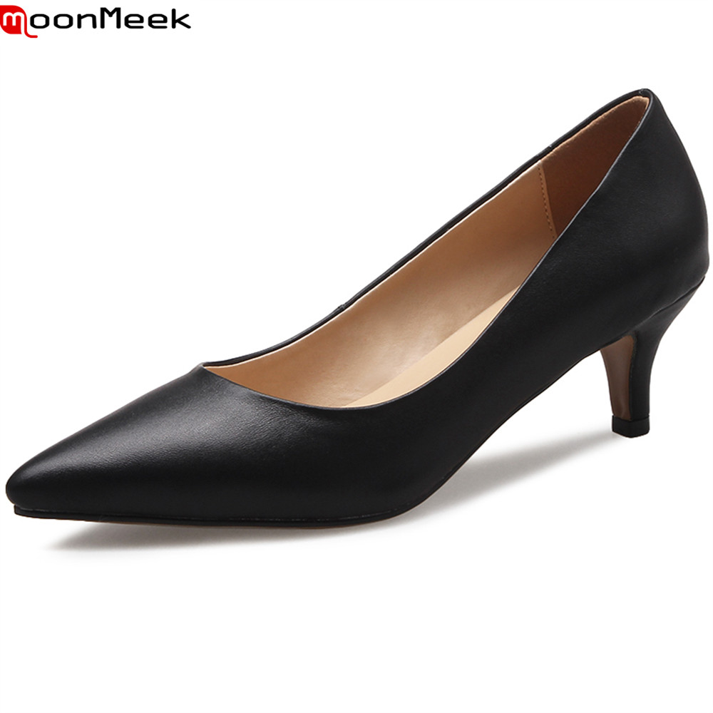 цена на MoonMeek spring summer dress shoes extreme high heel pointed toe shallow slip on thin heels mature pumps women shoes
