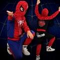 2016 Человек-Паук Детская Одежда Устанавливает Мальчиков Человек-Паук Косплей Дети Спортивные Костюмы детская одежда куртка + брюки 2 шт./компл. Мальчиков одежда
