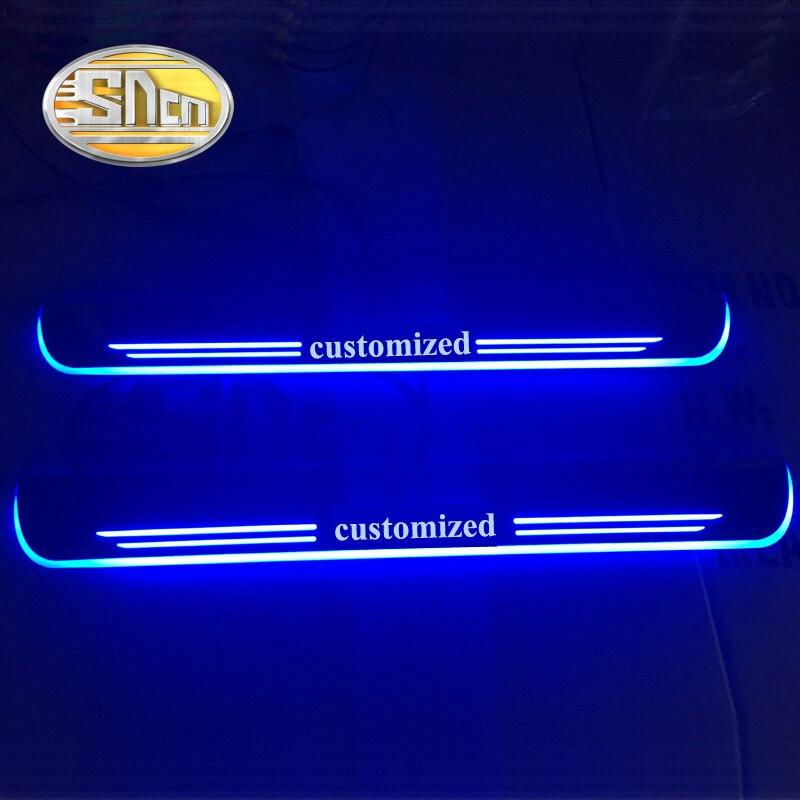 SNCN 4 PCS Acrylique Mobile LED Bienvenue Pédale De Voiture Plat D'usure Pédale Porte Seuil Pathway Lumière Pour BMW F30 F35 2012-2015 2016 2017