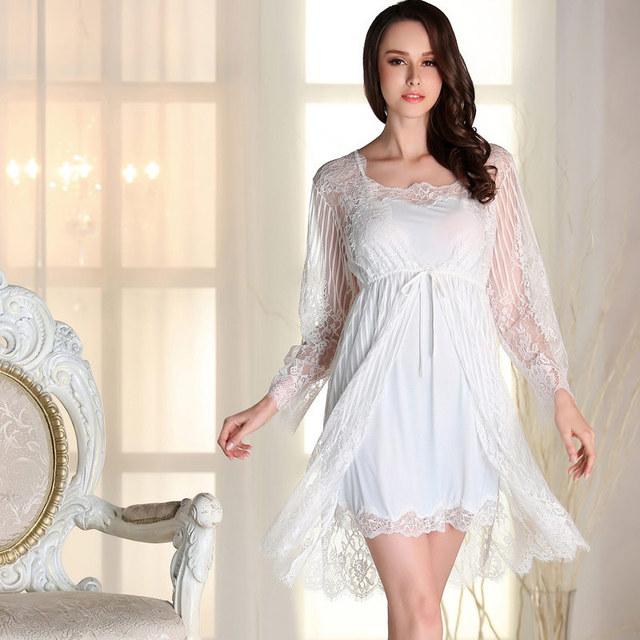 Senhoras Sensuais Conjuntos de Roupa de Dormir de Seda Mini Vestido Do Laço & Robes Pijamas Vestido Babydoll Pijama M--XL DM1802