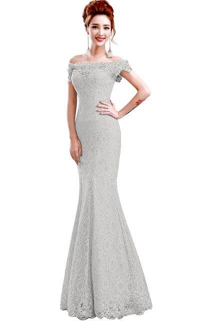 Misshow Русалка вечернее платье Розовое Кружевное длинное вечернее платье Элегантное с открытыми плечами без рукавов robe de Soiree - Цвет: silver