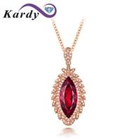 Amazing Genuine Natural Garnet Diamond Marquise Cut 14K Rose Gold Anniversary Emgagement Fashion Necklace Pendant for Women