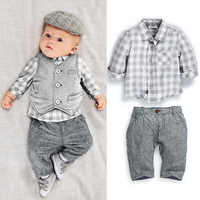 Baby Boys Clothing Set Conjuntos Para Bebes 3pcs Suit Gentleman Baby Clothes Boys Newborn Baby Boy