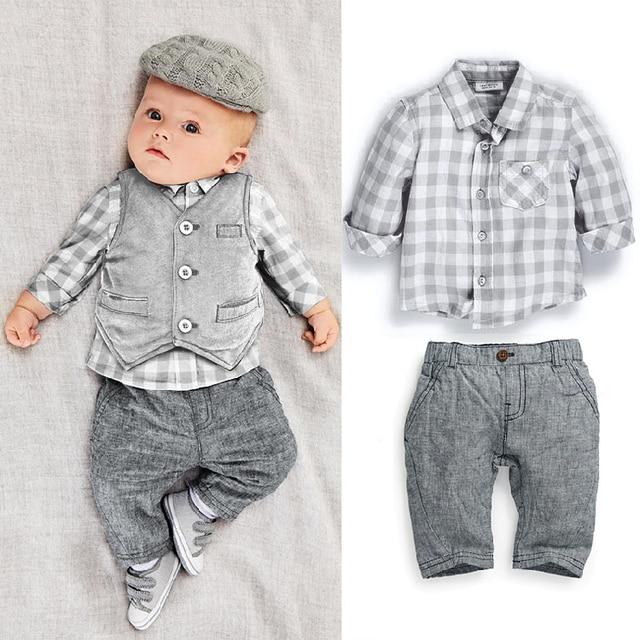 382940968 Bebés que arropan conjuntos para bebes 3 unids traje de caballero ropa de bebé  niños ropa