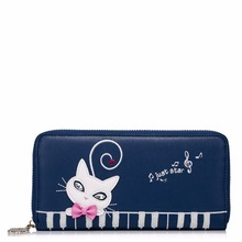2017 New Arrived Cats Embroidery Collage Diamonds PU Women Leather Girls Ladies Long Zipper Wallets Cards Holder Purse Clutches
