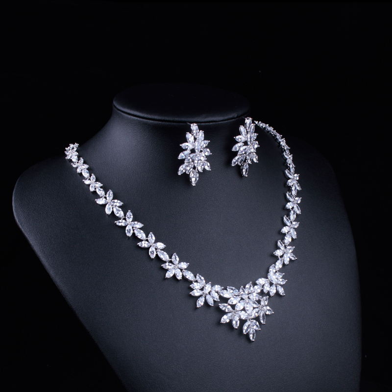 Image 3 - WEIMANJINGDIAN White Gold Color Plated Cubic Zirconia Floral  Design Zircon CZ Necklace