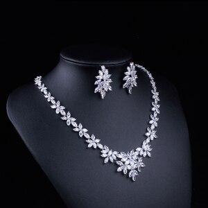 Image 4 - WEIMANJINGDIAN White Gold Plated Zirconia Bloemen Ontwerp Zirkoon CZ Ketting & Earring Huwelijk Bruids Sieraden Sets