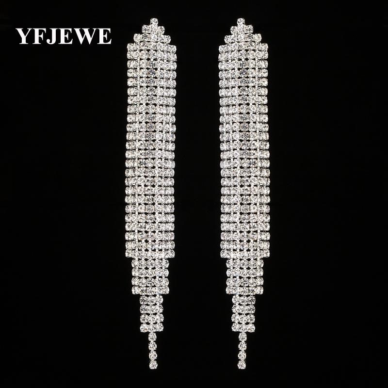 YFJEWE Top New Crystal Elegant Jewelry Summer Style Pendant Earrings for Women Gold and Silver Plated Wedding Accessories E449