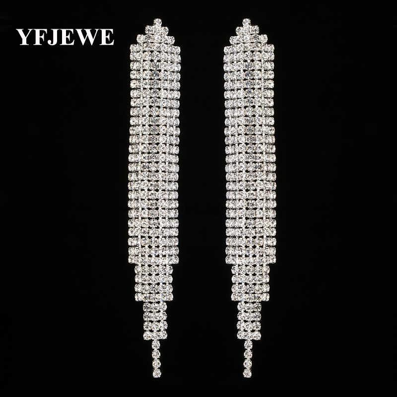 YFJEWE Top nouveau cristal élégant bijoux été Style pendentif boucles d'oreilles pour les femmes plaqué or et argent accessoires de mariage E449