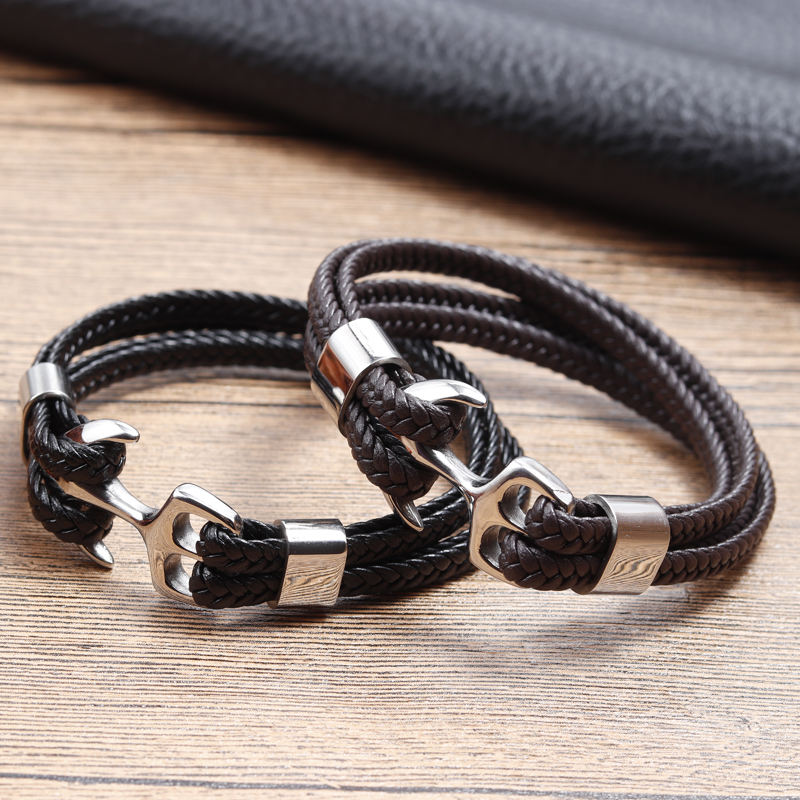 2018 Fashion Stainless Steel Anchor Bracelet Men Black Braided Cowhide Leather Rope Bracelets Wrap Punk Charm Jewelry|charm jewelry|bracelet wrapanchor bracelet - AliExpress