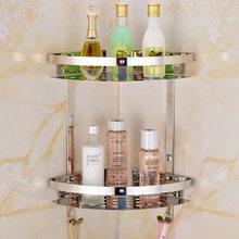 Moderno Acero inoxidable cesto esquina Artículos para baños de lujo  cosméticos de almacenamiento titular de baño estante baño ac. c842b916895d