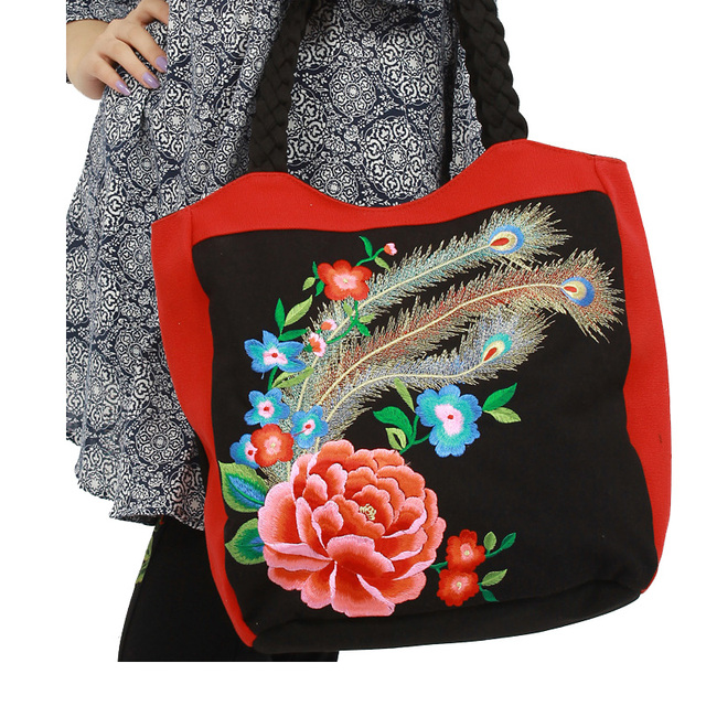 874056e9e1 Peacock Embroidered Women Casual Large Canvas Tote Bag Vintage Embroidery  Ladies Big Shoppers Handbag Shoulder Bags