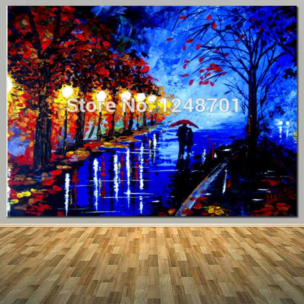 Us 28 59 49 Off Hand Painted Acrylic Abstract Painting Couples With Umbrella Rainy Night Landscape Oil Painting On Canvas Living Room Home Decor In