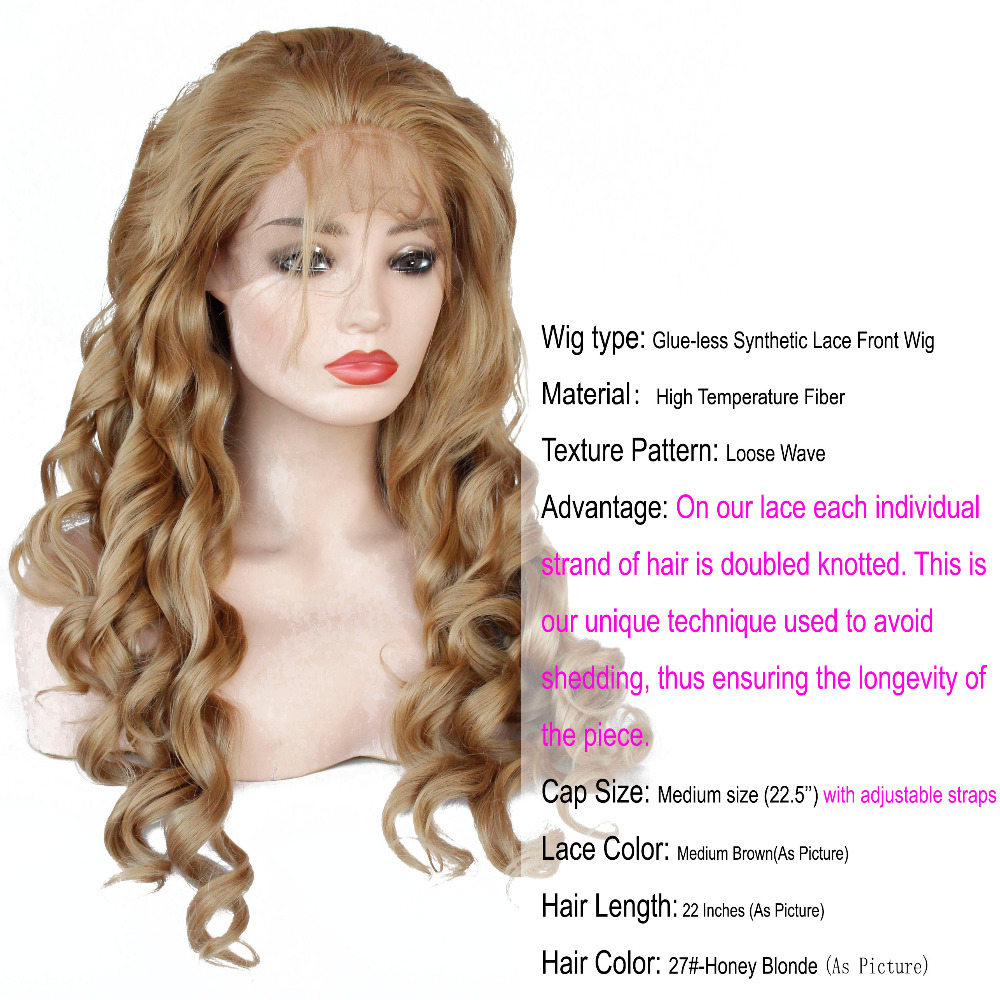 VNICE Golden Blonde Synthetic Lace Front Wigs with Baby Hair 27# Honey Blonde Loose Wave Heat Resistant Fiber Wig for Women