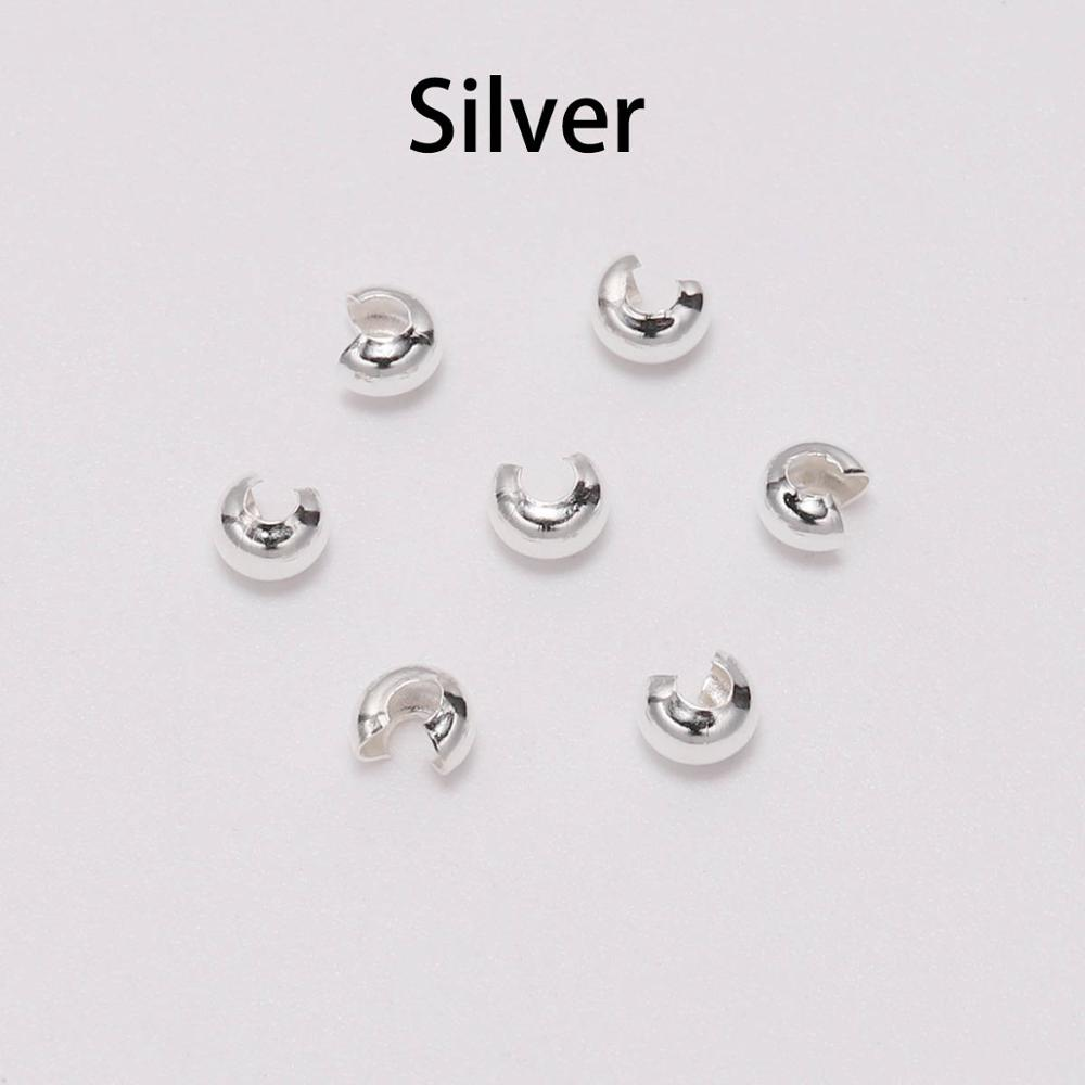 10x String Clip Knot Covers End Crimp Bead Cap Sterling Silver Findings