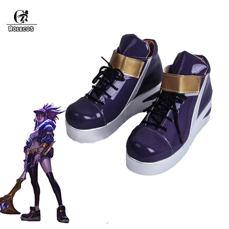 ROLECOS KDA Akali Cosplay Shoes LOL AKALI Cosplay Women Shoes Game LOL K DA Akali Cos