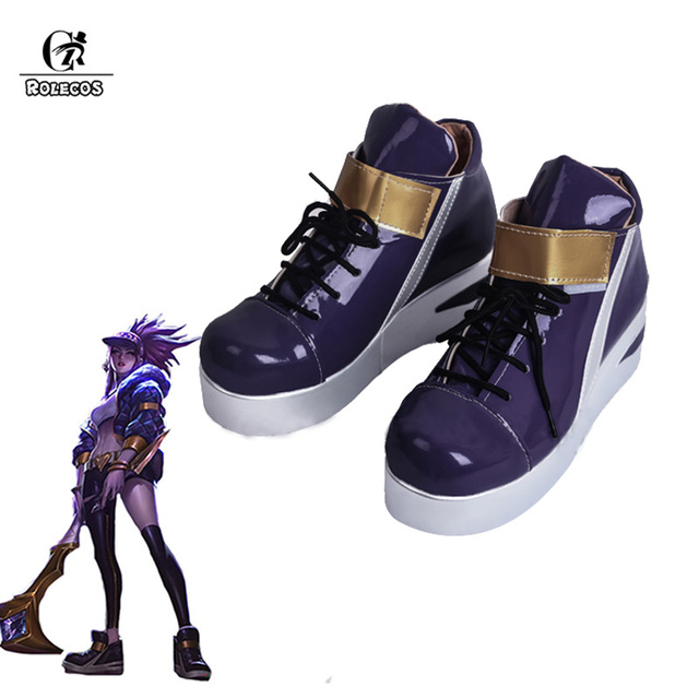 ROLECOS KDA Akali Cosplay Shoes LOL AKALI Cosplay Women Shoes Game LOL K/DA Akali Cos