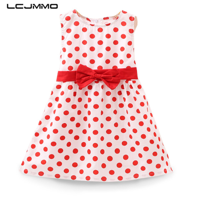 f63810450454d LCJMMO Red Dot A-line Girl Dresses Toddler Baby Girls Party Birthday Dress  Girl Cotton Kids Summer Dresses Children Clothes 1-7Y