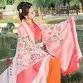 Розовый Красоты Принцесса LanLing Династии Хань Традиционный Hanfu для Женщин Эстетическое Вышивка Hanfu Костюм для Фотографии