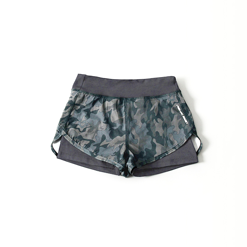 Elastic Camouflage Women's Yoga Shorts 2 Layers Breathable Big Girl Fitness Sport Shorts Quick Dry Training Running GYM Wear