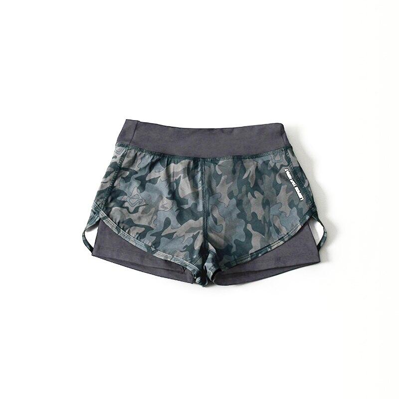 @1  Упругие камуфляж женские шорты для йоги 2 слоя дышащий Big Girl Фитнес спортивные шорты Quick Dry Об ✔