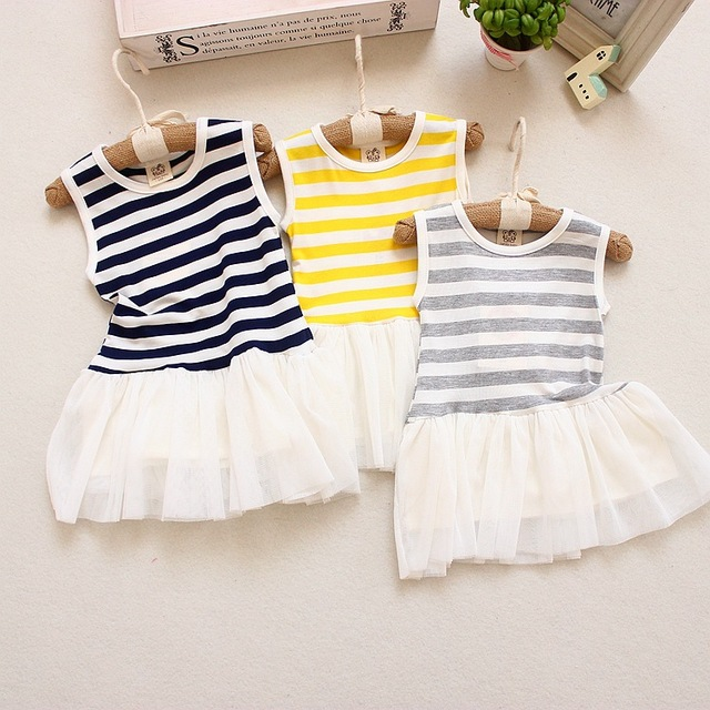 33b830cc500b 2019 Summer Baby Girls Dresses Striped Sleeveless T-shirt Baby Girl Clothes  6-12 Months Baby Clothing