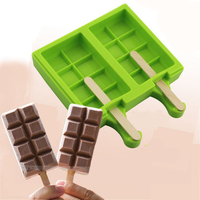 New 2 Cavities 8 Small Checks Shape Chocolate Bar For Lollipops Mold Silicone Ice Cream Cube