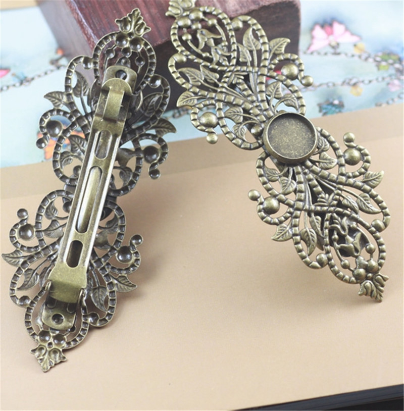 2pcs Copper Brass Hollow Filigree Flower Spring Barrette French Hair Clip Hairpins Round Cabochon Base 12mm DIY Headwear Craft