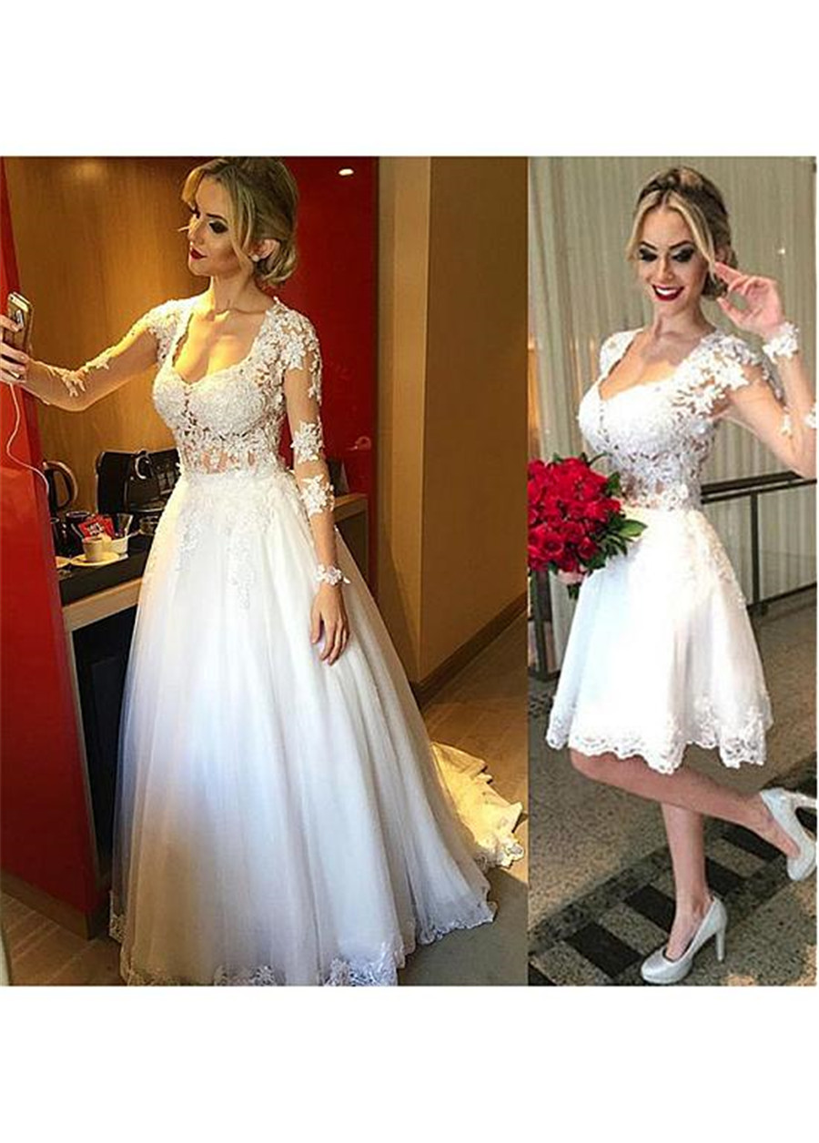 Gorgeous Tulle Scoop Neckline 2 In 1 Wedding Dresses With Lace Appliques Long Sleeves Bridal Dress With Detachable Skirt