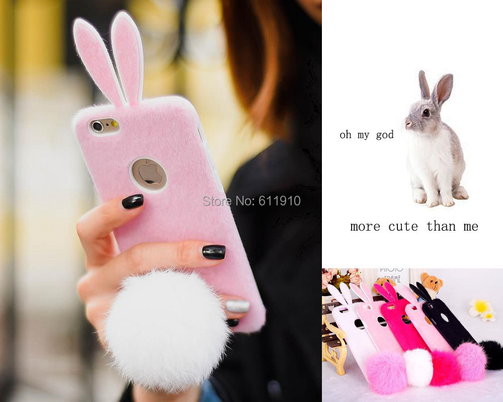 finest selection a5742 b0130 US $6.99 |New 3D Furry Kitty Rabbit Bunny Ear Case Skin Cover For iPhone  6/6 Plus 5/5S 4/4S Cute TPU Cases Tail Ball on Aliexpress.com | Alibaba  Group