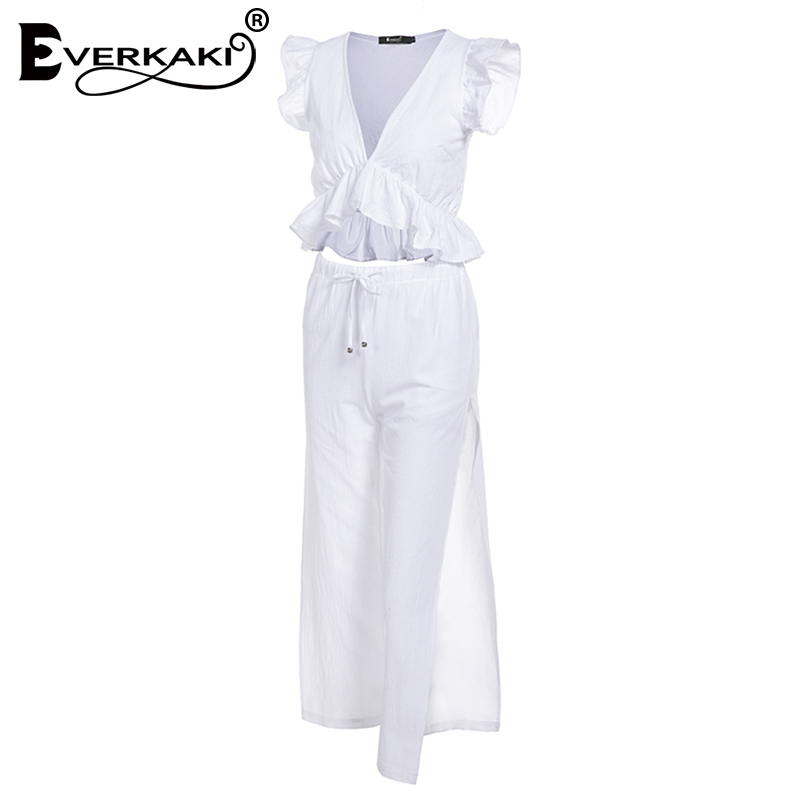 Everkaki 2019 Women Boho Solid 2 Pieces Sets Suits Sexy Deep V Neck Short Top and Split Long Pants Sets Female Summer Autumn in Women 39 s Sets from Women 39 s Clothing