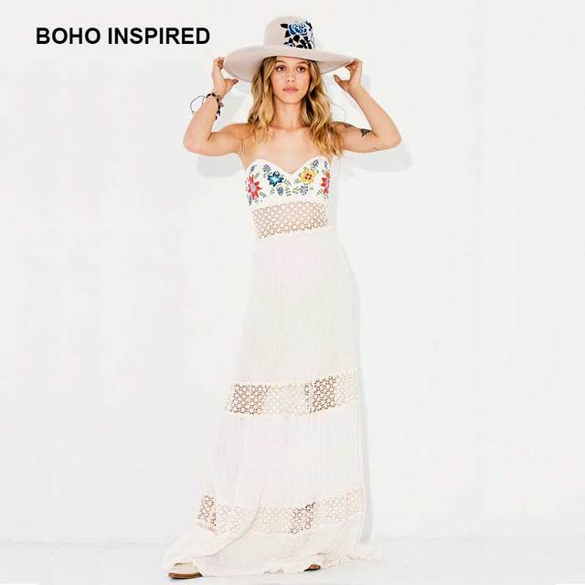 b0db0d8f23 BOHO INSPIRED maxi dress Embroidery Tubetop summer Dress cotton lace  patchwork sexy party dresses hippie bohemian vestidos 2017