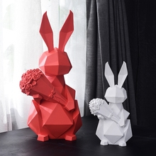 Geometric Rabbit with Rose Animal Decoration Creative Gift Resin Lovely Animal Home Decor Best Valentine's Day Gift
