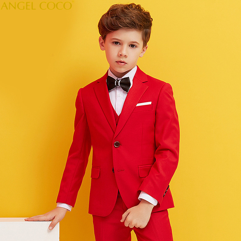 Fashion Boy Suit for Weddings Prom Party Children Slim Fit Suit Sets Boys Tuxedo Formal Vest Pants Classic Costume Blue Red 2018 winter children boys formal sets 5 pcs woolen blend coat pants vest shirt tie costume wedding birthday party gentleman boy suit