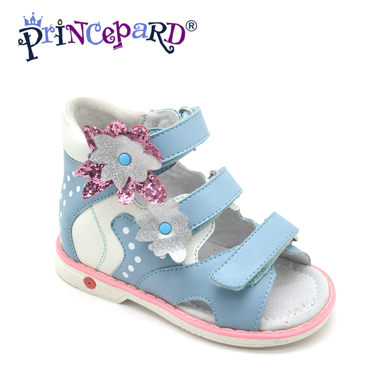 Princepard Need Customize in Advance 20 days Orthopedic shoes for girls blue genuine leather sandals