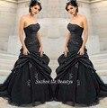 Barato Preto Gótico Do Vestido de Casamento Ruched Tafetá Puffy Tulle Saia Frisada Strapless Longo vestido de Noiva 2017 Vestido De Noiva