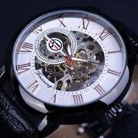 Forsining 3d Logo Design Hollow Engraving Black Case Roman Number Skeleton Watch Men Luxury Brand Mechanical