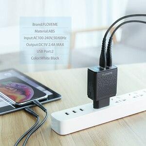 Image 5 - FLOVEME Dual USB Caricatore 5V 2.4A Veloce di Ricarica Adattatore del Caricatore Della Parete della Spina di UE Del Telefono Mobile Per il iphone ipad mini samsung Xiaomi