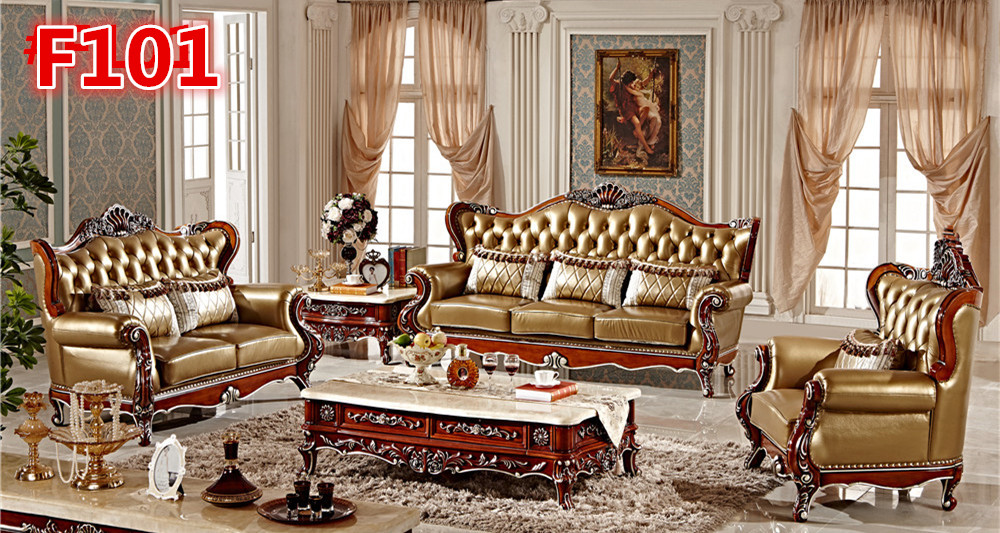 Italian Leather Hand Carved Sofa Set
