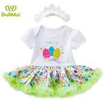 New 0-2 year baby girl dress short-sleeved Easter skirt printed rabbit egg princess dress set spring summer vestido infantil