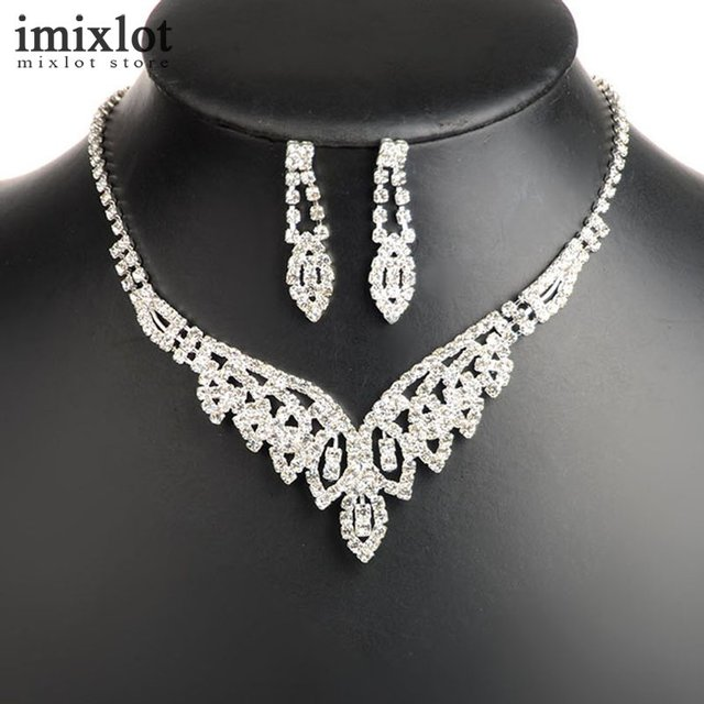 Imixlot 18 Style Mixed Crystal Bridal Jewelry Sets Silver Plated Rhinestone  Necklace Wedding Engagement Jewelry Sets 6f0af15d65ae