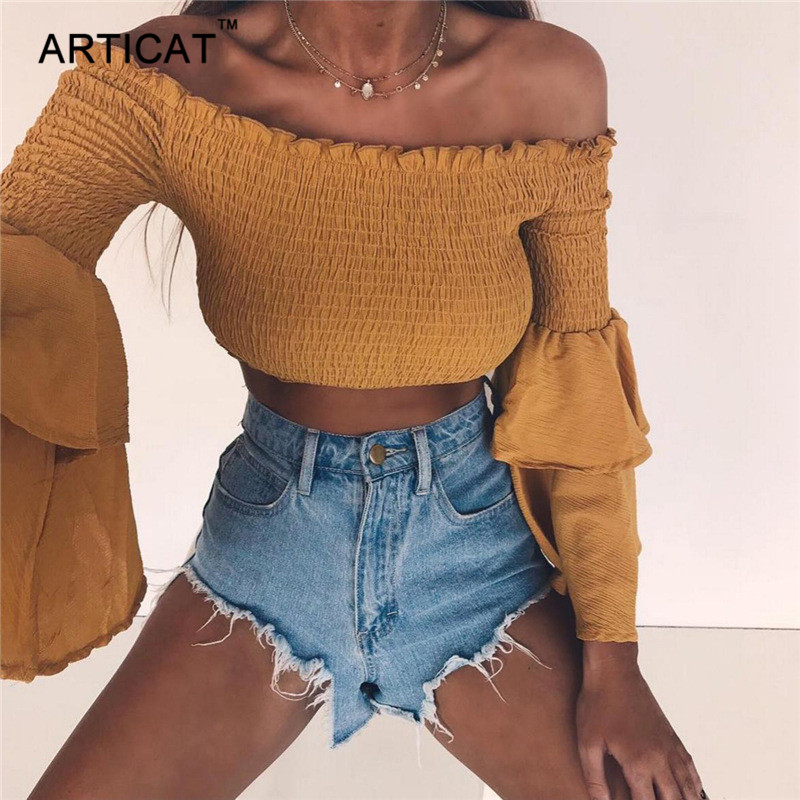 Articat Off Shoulder Sexy T Shirt Women Soild Cropped Top Slash Neck Flare Sleeve Slim Short Shirt Autumn Casual Tops for Women