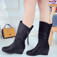 Fashion Women Round Toe Autumn Winter Leather Plush Mid-calf Boots,Fringe Design Wedges Low Heels Platform Warm Boot Size 35-40 цена